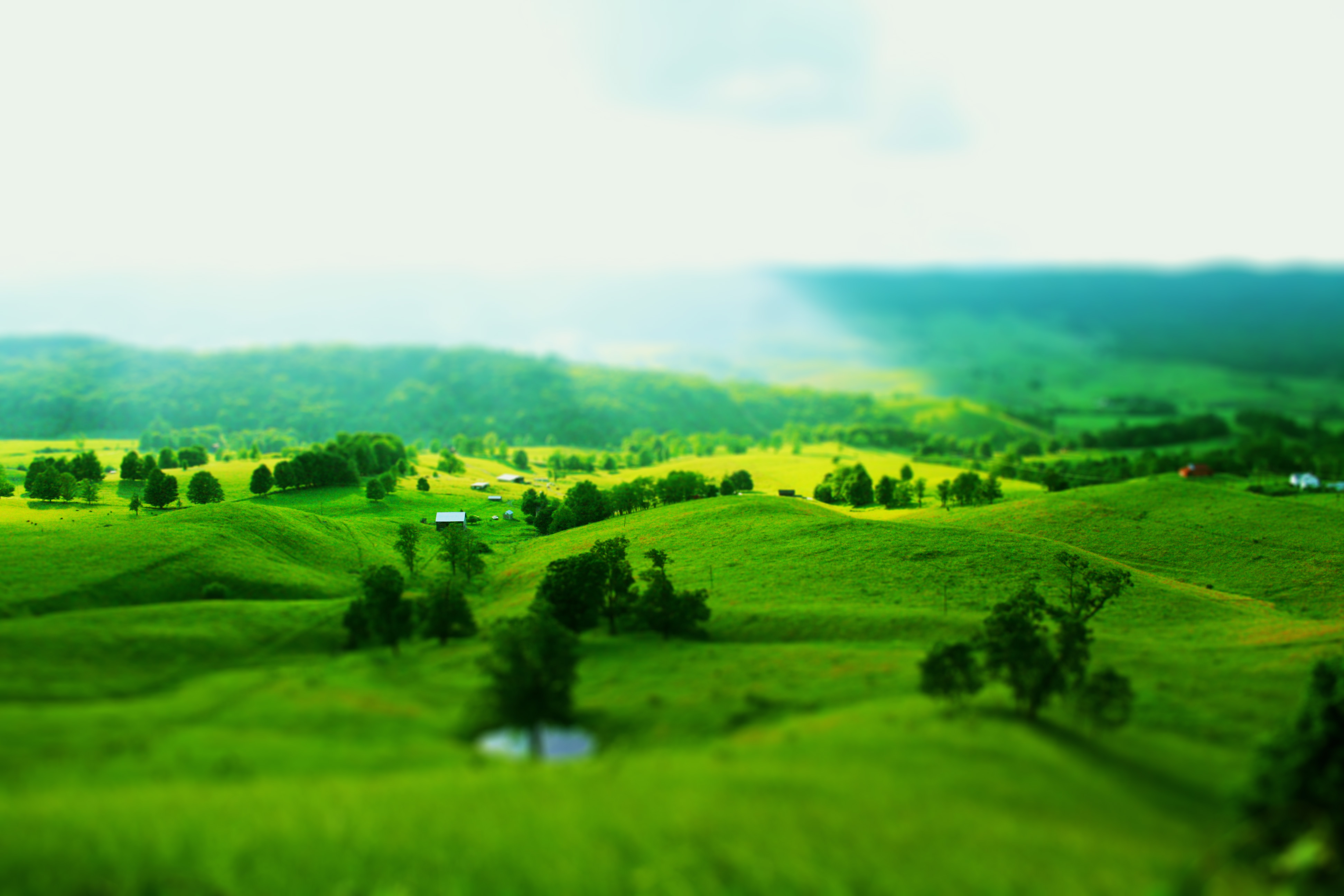 Beautiful Green Landscape Tilt Shift Wallpaper