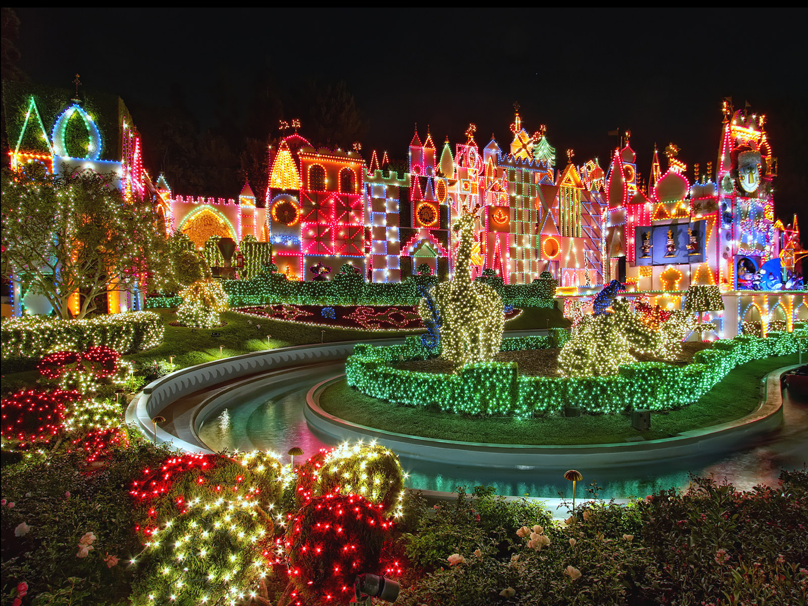 Colorful Christmas Lights in Disneyland Small World