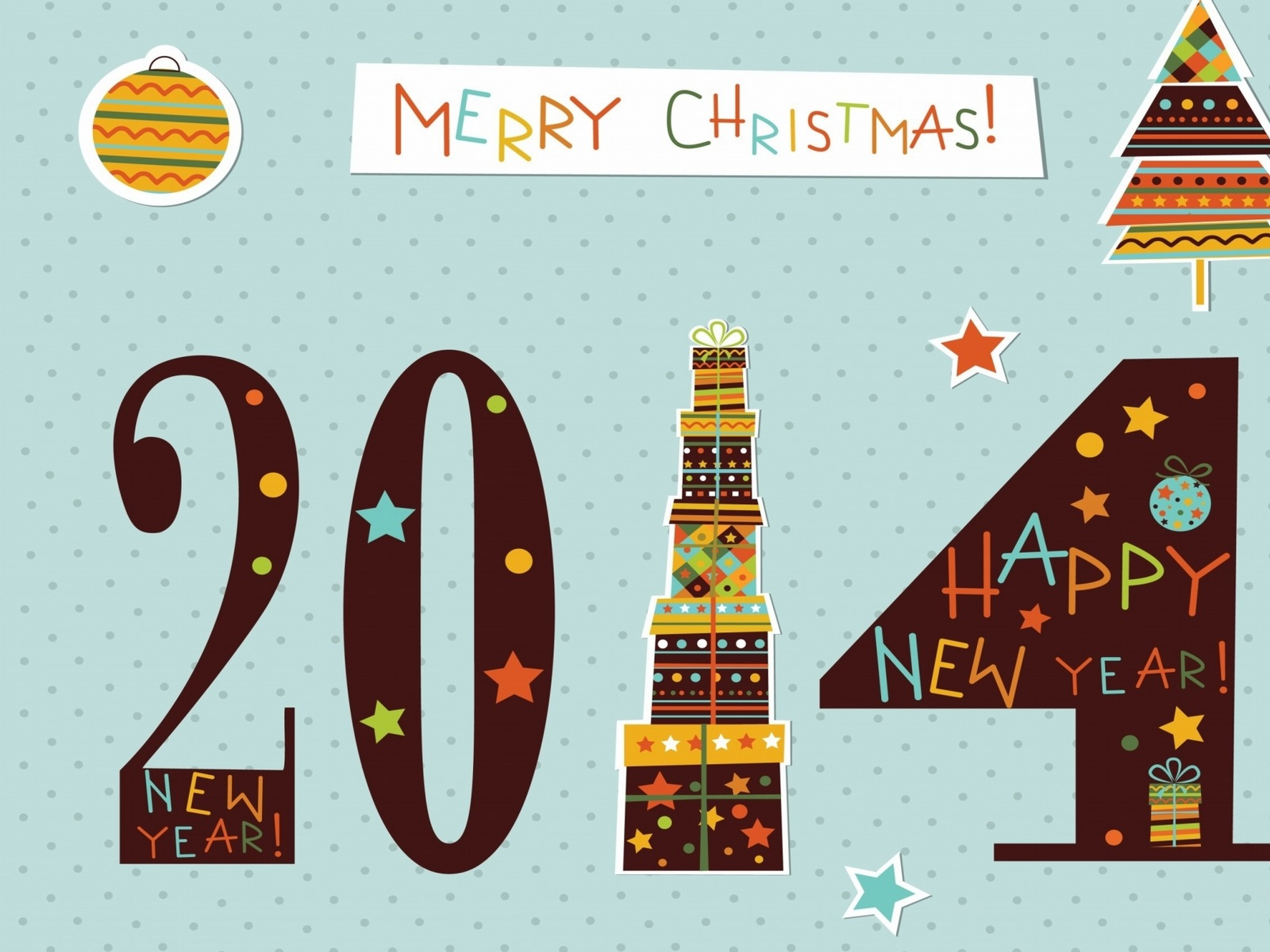 Merry Christmas And Happy New Year 2014 Wallpaper 1600x1200