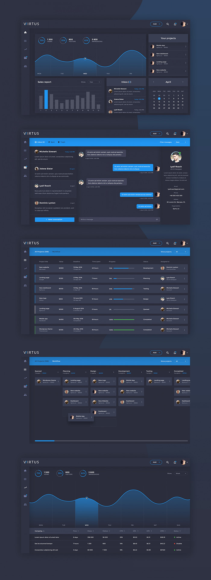 Virtue Free Admin Dashboard PSD UI Kit1