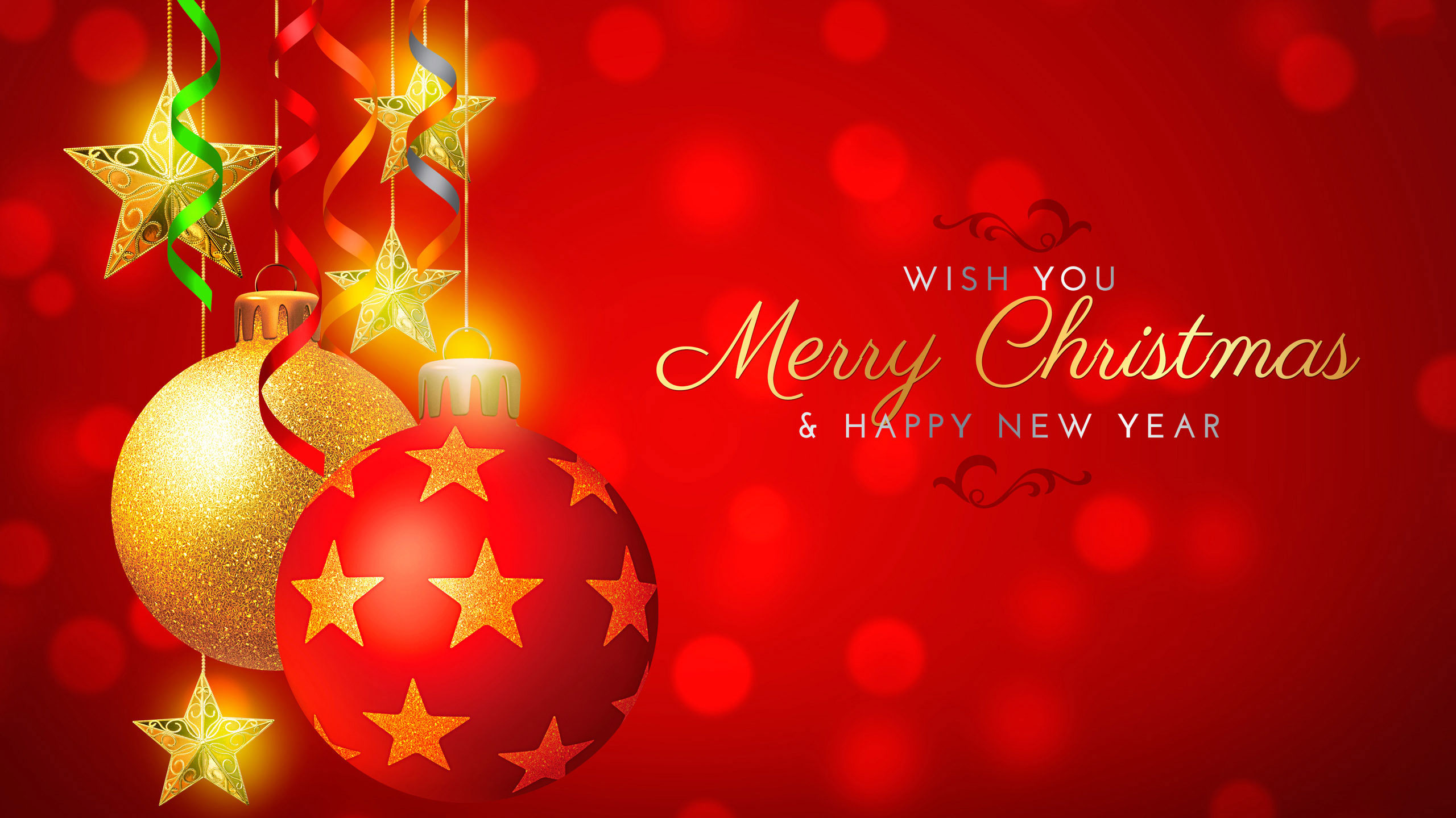 Wish You Merry Christmas and Happy New Year HD Wallpaper
