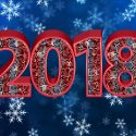 2018 New Year Background Snowflake Red Card Desktop