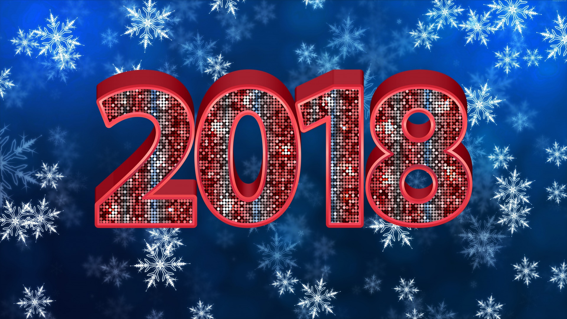 2018 New Year Background Snowflake Red Card Wallpaper