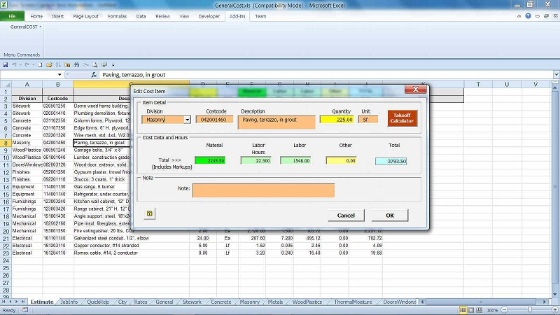Free concrete cost estimator windows software for excel for Construction cost calculator online free