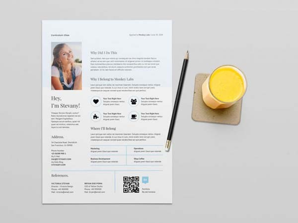 Clean Free QR Code Resume Template