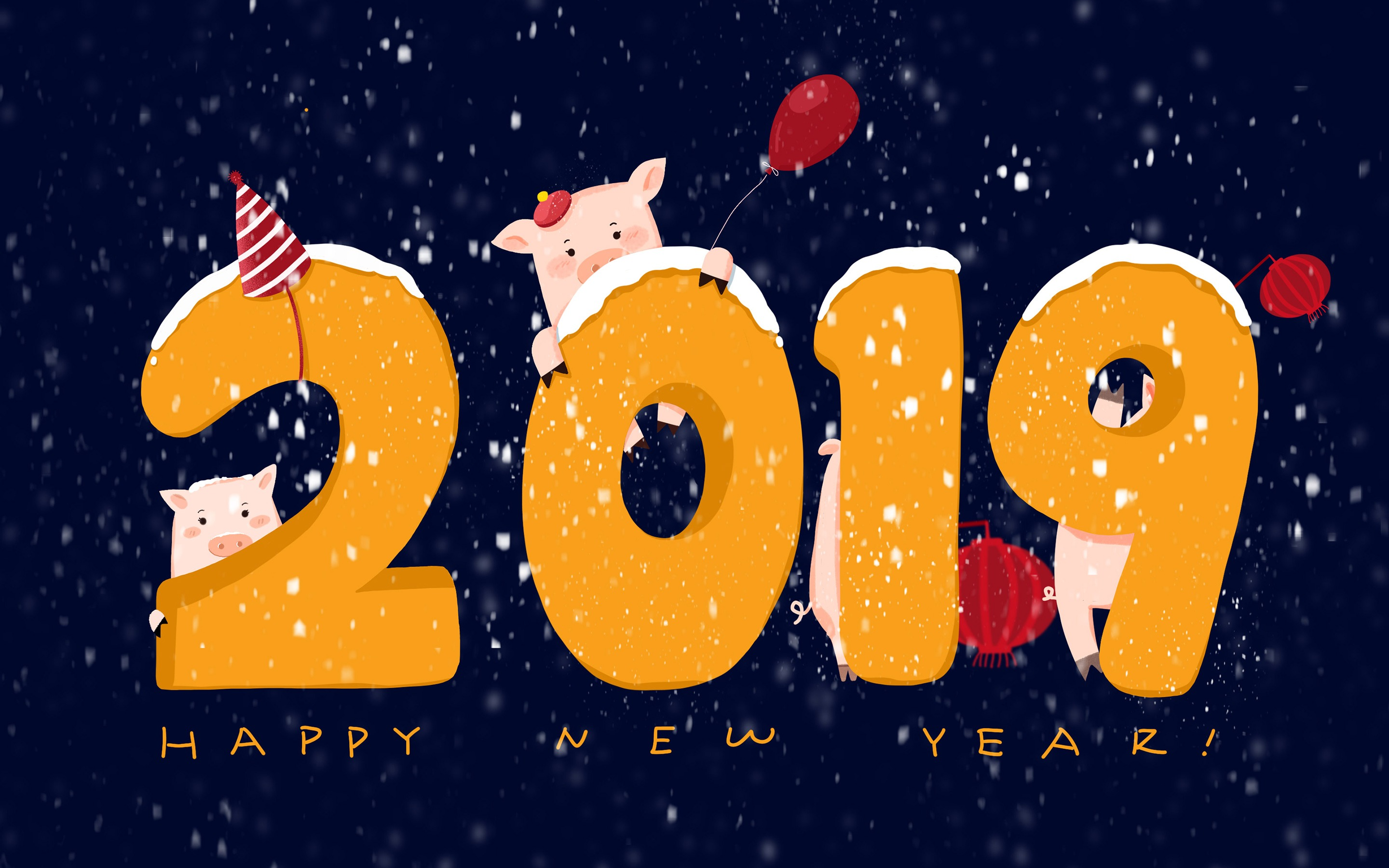 Happy New Year 2019 Winter Cute Pig Wallpaper 2880x1800