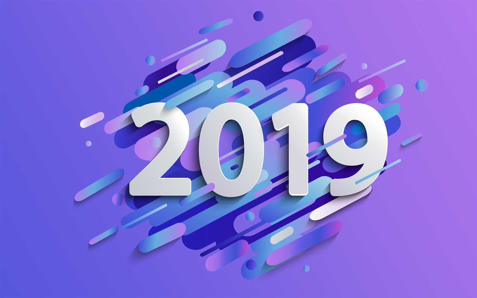 2019 New Year Purple Abstract Vector Wallpaper 1920x1200