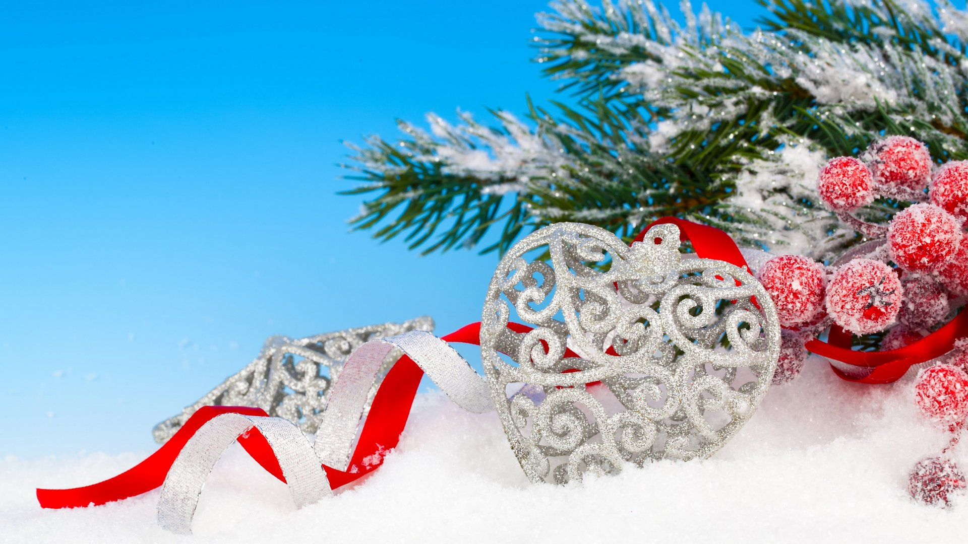 Christmas Branches Snow Heart Ribbon Background 1080p