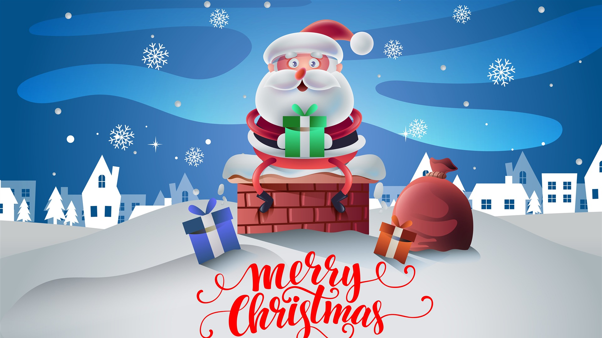 Christmas Cartoon Design Wallpaper 1920x1080