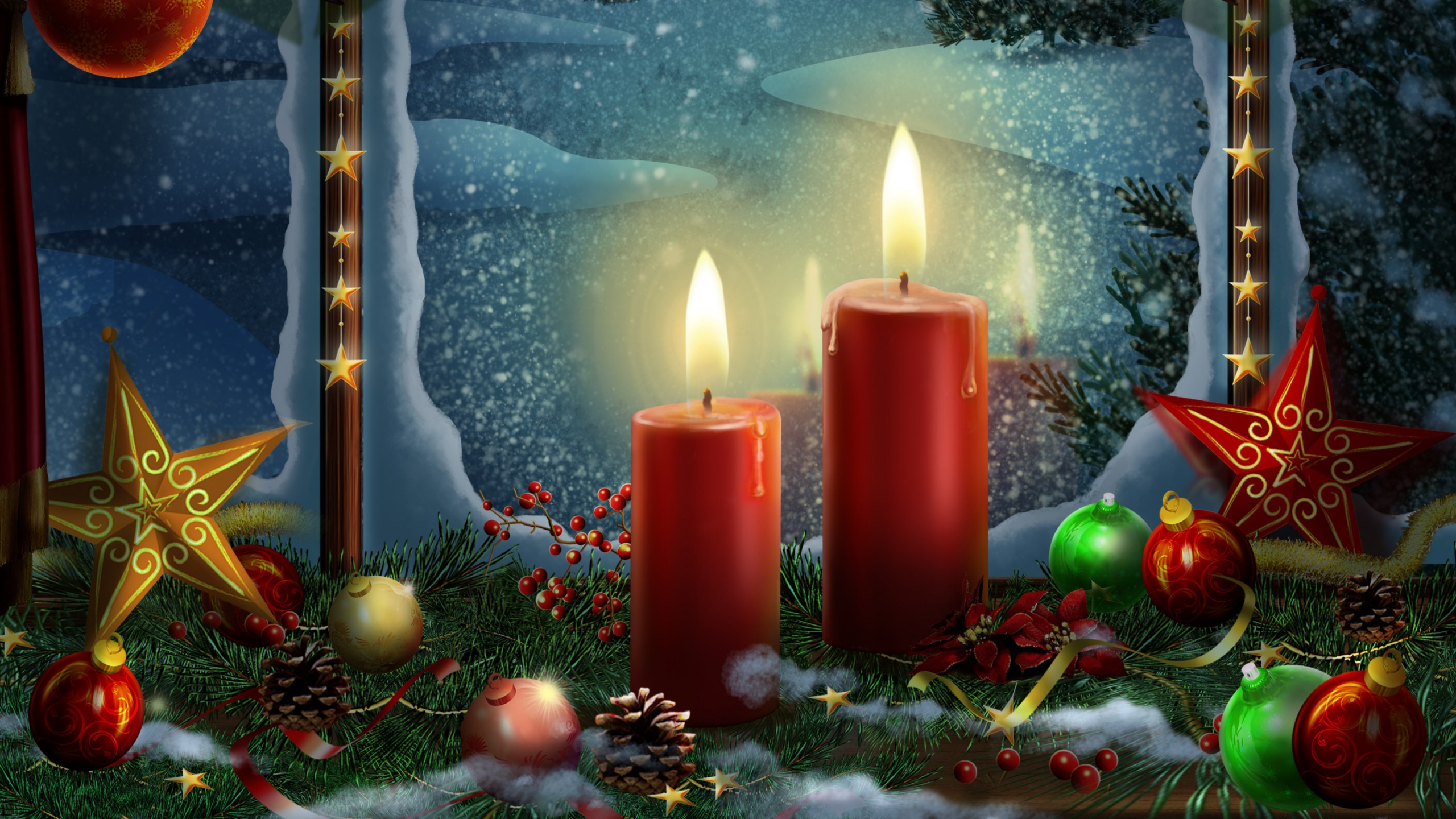 Christmas decoration candle lights Wallpaper 2560x1440