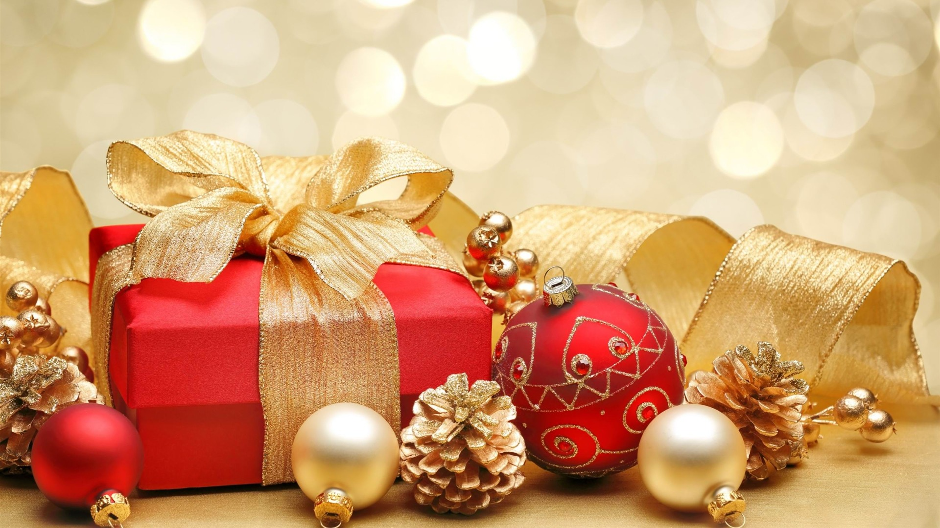 Christmas gift box decorations Wallpaper 1920x1080