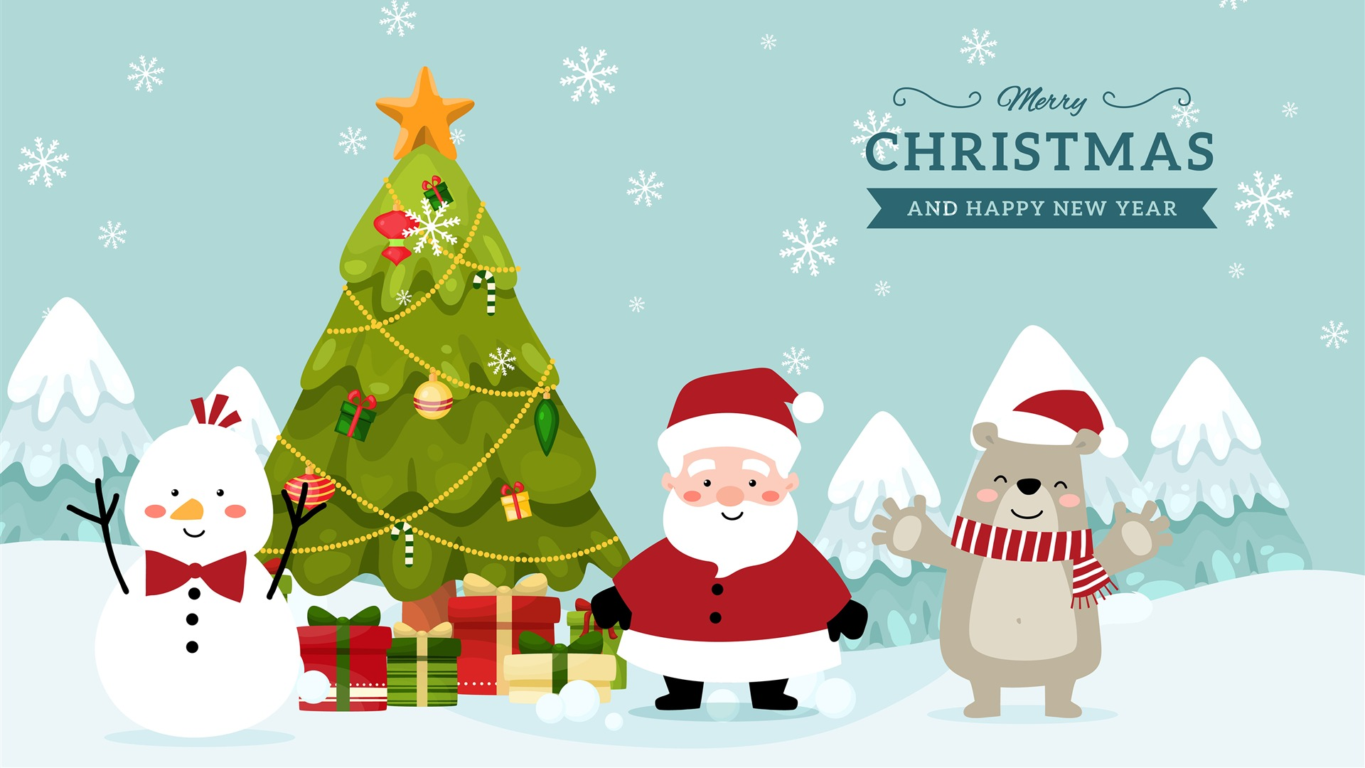 Christmas Tree Santa Claus Snowman Bear Wallpaper 1920x1080