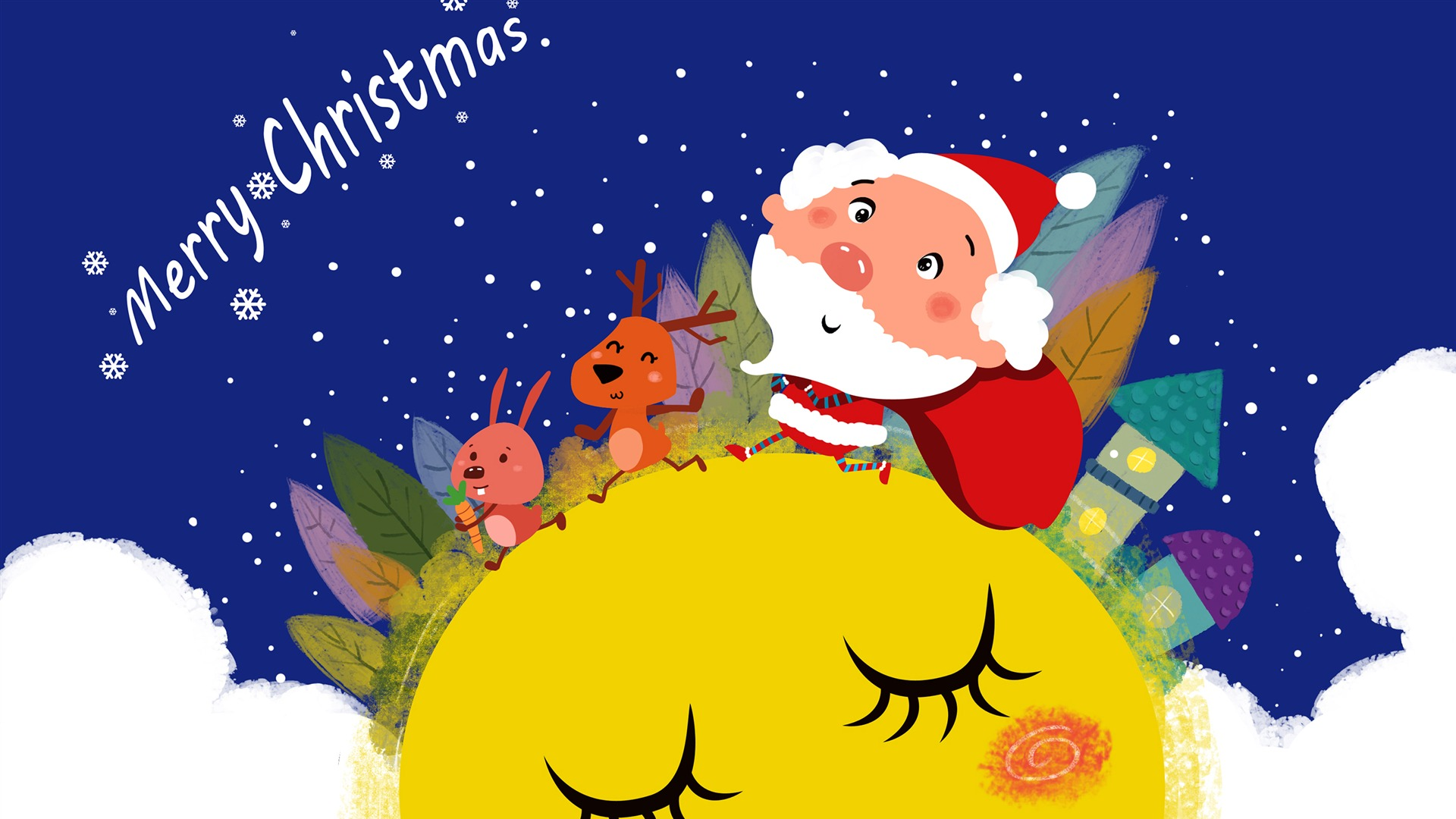 Cute Cartoon Elk Santa Claus Merry Christmas Wallpaper 1920x1080