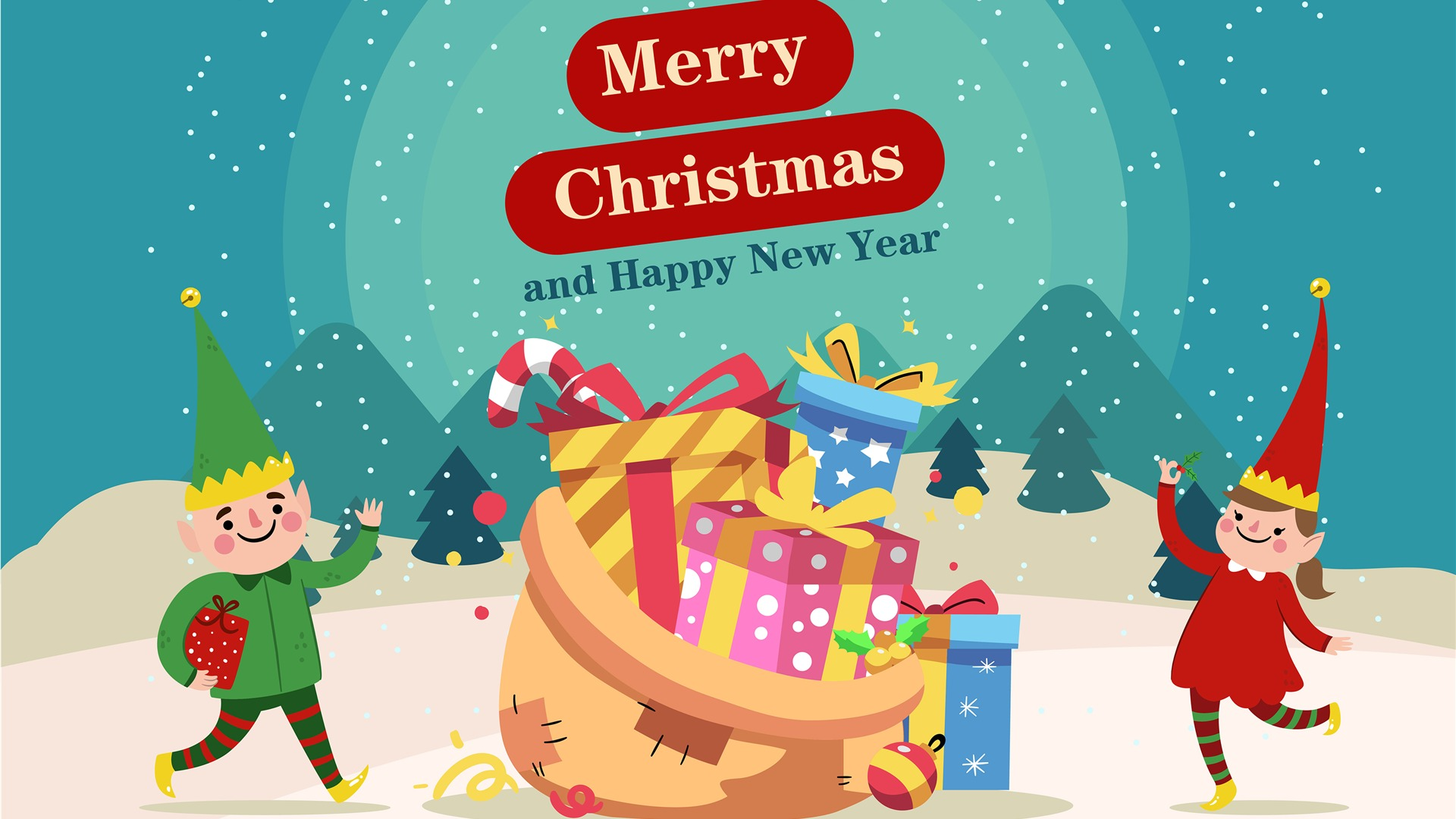 Happy New Year Merry Christmas Holiday Gift Wallpaper 1920x1080
