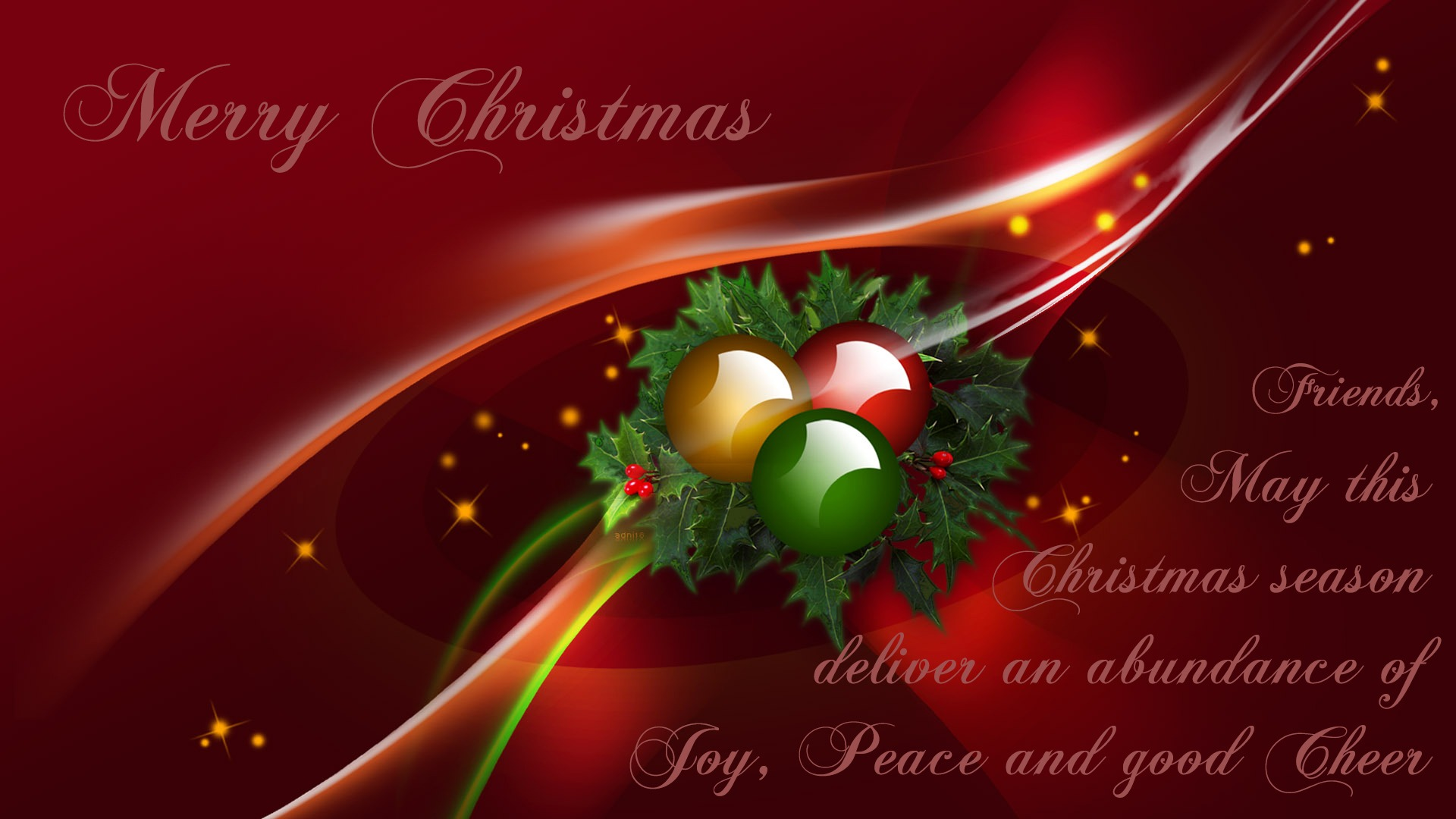 Merry Christmas Wishes Holiday Wallpaper 1920x1080