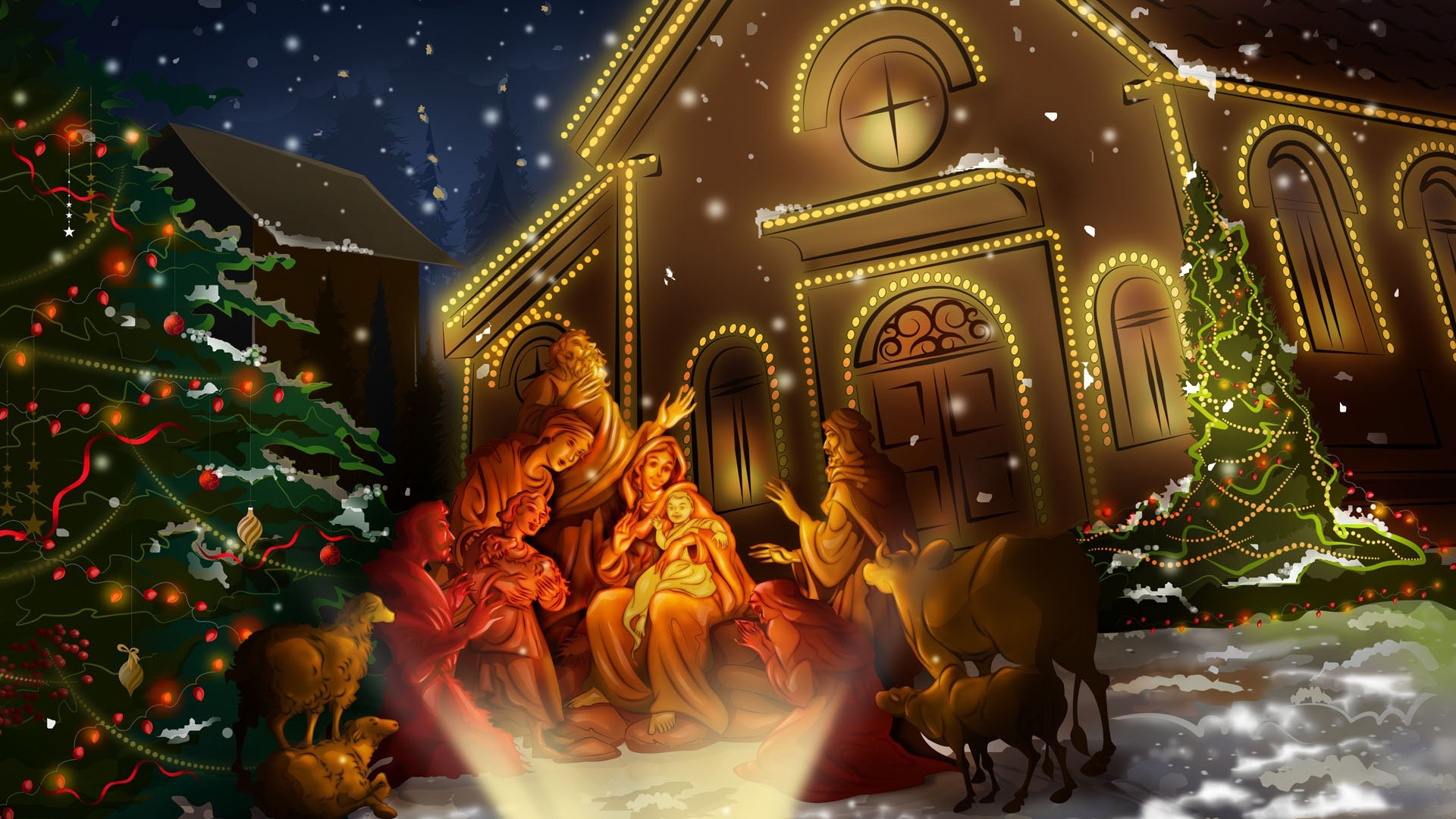 Night of Jesus Birth Christmas Wallpaper 1920x1080