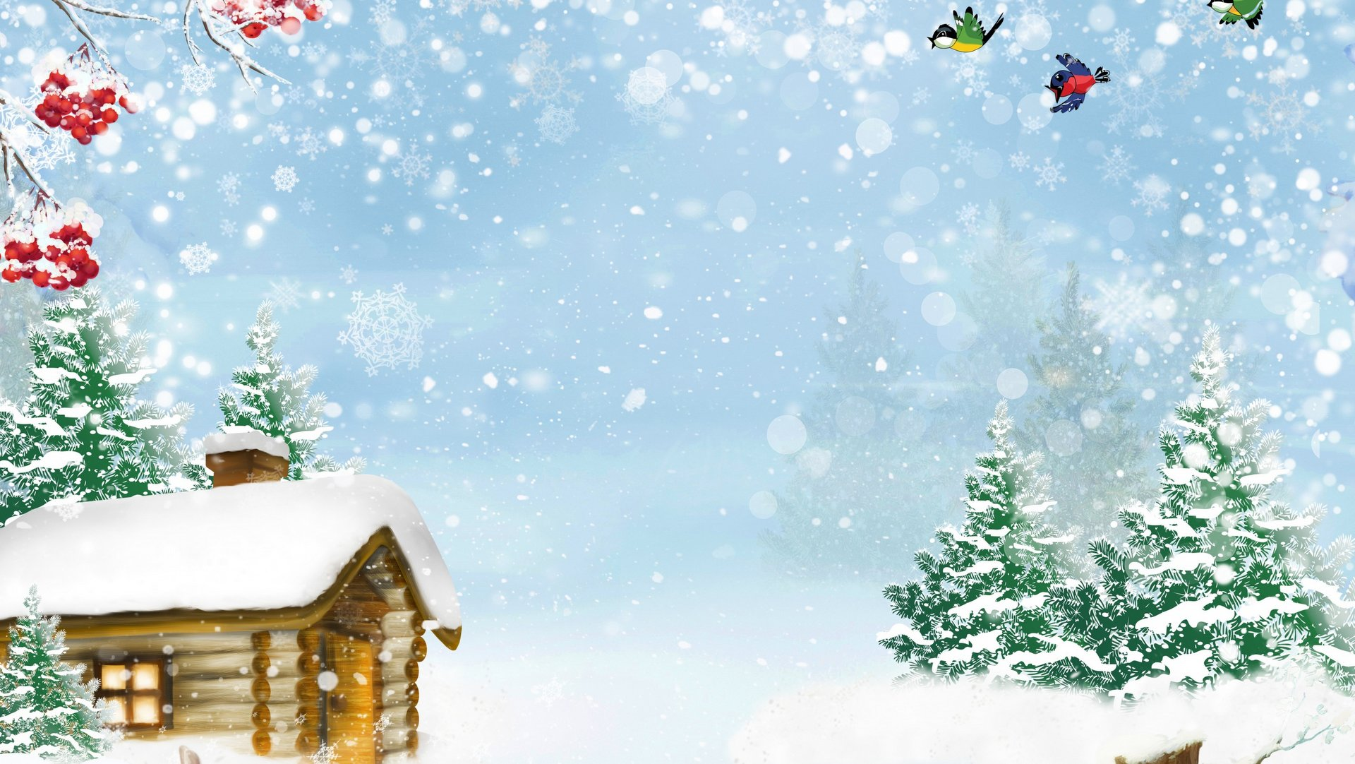 Xmas Winter House Birds Snow Background HD 1080p