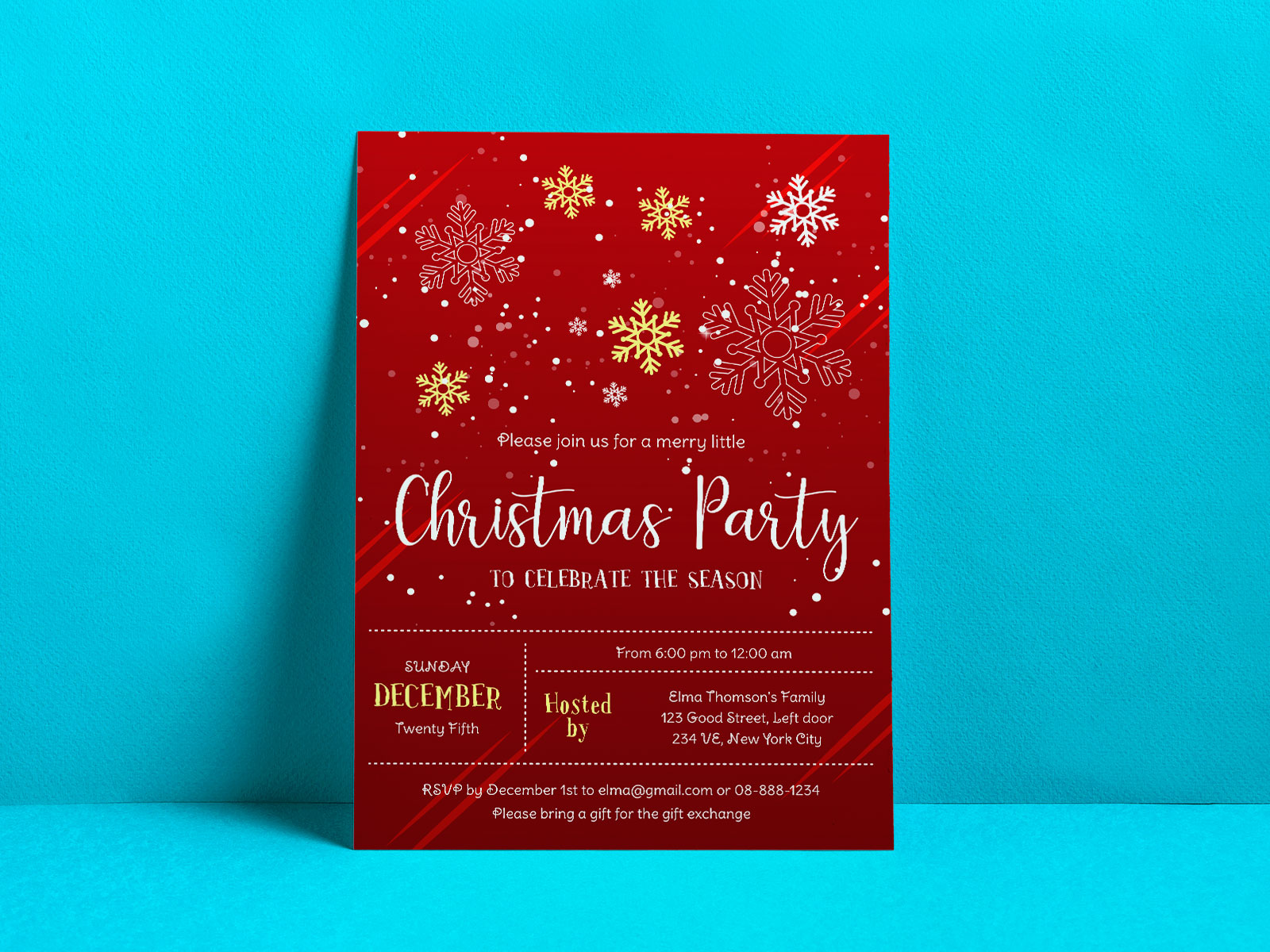 Free Christmas Party Flyer Design Vector Template Ai Format